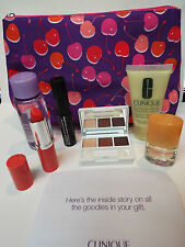 Clinique 7 Piece Compact, Runway Coral Lip, Mascara, Lotion Bag Remover Happy