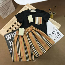 1 Set New Kids Girl Black & White Brown Strip Summer Shirt Top Tee & Pant Dress
