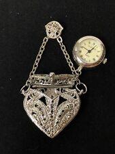 Majesti Watch Company #95111 Majestron Silver Heart Necklace Secret Pocket Watch