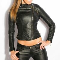 Leather Look Jacket Biker Style Cropped Slim Fit With Buckles & Zip Black