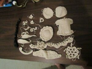 MISC CROCHET ORNAMENTS DECORATIONS  SHADOW BOX - SOME PARTIALLY FINISHED