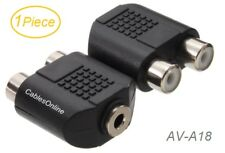 1-Piece, 2-RCA Female to 3.5mm Stereo Female Adapter, CablesOnline AV-A18