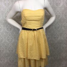 Maurices Medium Womens Yellow Eyelet Summer Spring Strapless Flare Dress