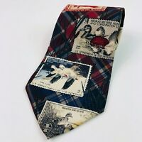 Harken LTD Men's Tie Ducks stamp pattern plaid 100% Silk made USA Postal Stamps