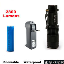 Mini CREE XM-L Q5 2800LM Waterproof LED Flashlight Zoomable LED Torch Penlight