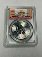 2016 $5 CANADA MAPLE LEAF PCGS MS69 FIRST STRIKE SILVER .999 1 OZ UNC (MR)