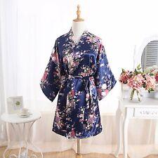 Hot Floral bridesmaid robes gowns bride bath robe wedding kimono robes Navy Blue