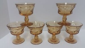 "Fostoria Jamestown Amber 4.25"" Champagne Sherbet Glasses Set of 6"