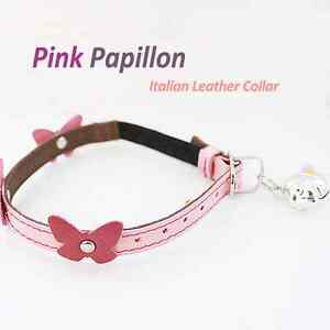 Luxury and Cute Leather Cat Collar- Pink Papillon High Quality Kitten One-Size