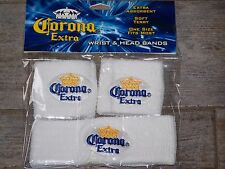 CORONA WRIST & HEAD SWEAT BAND SET NEW WHITE  Tennis Skateboard basketball etc
