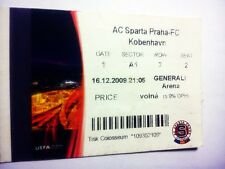 used ticket SPARTA Prague - FC COPENHAGEN 16.12.2009