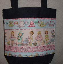 New Handmade Medium Paper Dolls Dolly Denim Tote Bag