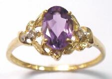 SYJEWELRYEMPIRE 10KT YELLOW GOLD NATURAL AMETHYST & DIAMOND RING SIZE7   R1326