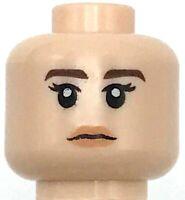 Lego New Light Flesh Minifigure Head Dual Sided Female Dark Brown Eyebrows