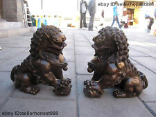 China Pure  Bronze Palace Door Guardian Fu Foo Dog lion beast Lions statue Pair