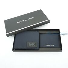 NWT Michael Kors Men's Gifting Billfold Compact ID 3 in1 Wallet Set Leather Navy