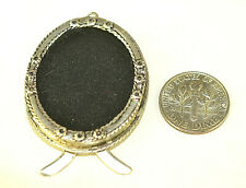 """ANTIQUE STERLING SILVER  1.5"""" OVAL PICTURE FRAME W/ FLOWERS FOR MINIATURE PHOTO"""