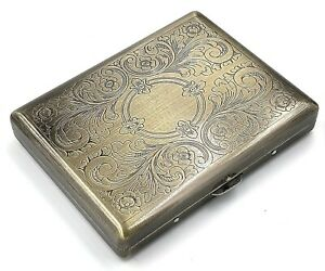 Victorian Style Cigarette Metal Case Double Sided King & 100s Etched Pattern AB