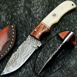 "CUSTOM HAND FORGED DAMASCUS STEEL 8.0"" SKINNING KNIFE - CAMEL BONE - WD-7026"