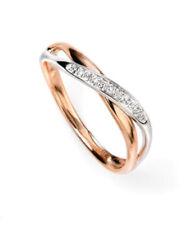 Anelli con diamanti bianchi di colore fantasia in oro rosa