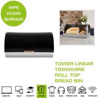 Tower Linear T826000RB Roll Top Bread Bin - Black & Rose Gold
