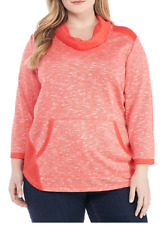 Ruby Rd. 3/4 Sleeve Cowl Neck Front Pocket Marled Knit Top 2X Coral MSRP $64.