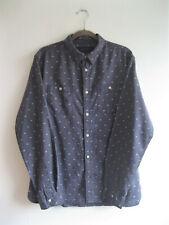AllSaints   Men's ALNICO Blue Allover Pattern Linen Blend Button Down Shirt   M