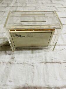 Vtg Acrylic Lucite Clear Recipe Card Box Holder w/ recipe cards