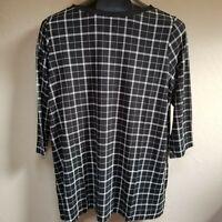 J.Jill Wearever Womens Black White Plaid Tunic Top Blouse Large Petite NWT $89.