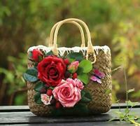 Womens Vinatge Flowers Decor Straw Weave Handbags Fashion Tote Beach Bags Gifts