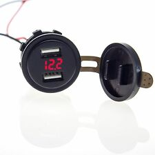4.2A Dual USB Charger Socket Voltage Voltmeter Motorcycle Boat Red for car