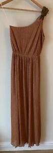Miss Selfridge Size 10 Grecian Off The Shoulder One Strap Long Dress Pink Gold
