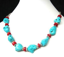 Natural Green Turquoise Red Coral Beads Necklace Refined Style Tibetan Silver