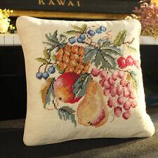 "14"" Still Life Scene Handmade Needlepoint Pillow Fruits Pineapple Pear Grapes"