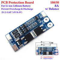 2S 8A 7.4V W/Balance Li-ion 18650 Lithium Battery Cells BMS Protection PCB Board