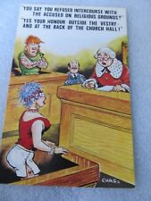 Vintage 1970's Bamforth COMIC Postcard, Refused on religious ground #820