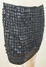 ALICE & OLIVIA Black Sheer Faux Leather Polka Dot Short Mini Skirt US8; UK12
