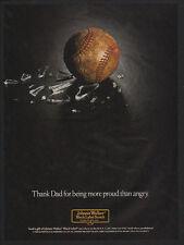 1989 JOHNNIE WALKER Black Label Scotch - Baseball & Broken Glass - VINTAGE AD