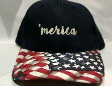 Handmade Snap Back Hat Cap Rare Custom Machine Embroidery Patriotic Merica NWOT