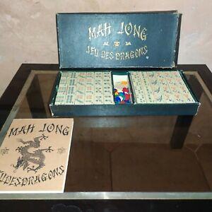 Ancien jeu JLR LES JEUX REUNIS MAH JONG 144 tuiles JEUX DES DRAGONS C.1920