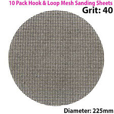 10x 40 Grit Silicon Carbide Mesh 225mm Round Sanding Discs –Hook & Loop Backing