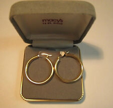 Gold Hoop Earrings From Macys Vintage Jewelry  With Original Box EX Cond