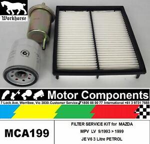 FILTER KIT Oil Air Fuel for MAZDA MPV LV JE V6 3L PETROL 93>1999