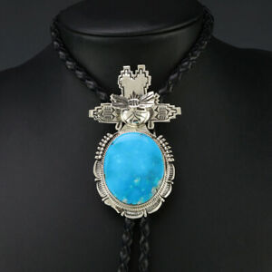 NATIVE AMERICAN NAVAJO SILVER & TURQUOISE KACHINA BOLO TIE BY BENNIE RATION