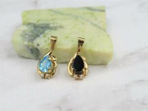 14K Yellow Gold Filled Swiss Blue Topaz or Black Onyx w/ White Sapphire Pendant