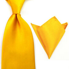 Men Plain Solid Color Satin Smooth Wide Tie 8cm Necktie Hanky Pocket Square Set