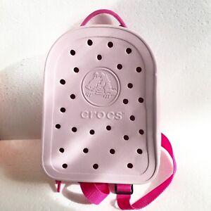 "Crocs Mini Backpack Pale Pink & Fushia Straps 10"" x 7.5"" x 3 1/2"" With Croslite"