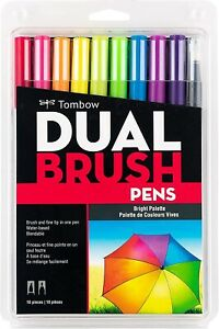 Tombow Dual Brush Pen Art Markers 10-Pack, Brights Palette *New Sealed Package*