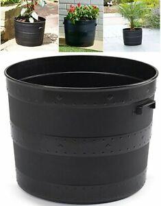 52cm Blacksmith Large Barrel Tub Plastic Planter Garden Round Plant Patio Pot