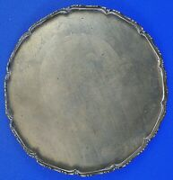 """Chinese Brass Engraved & Scalloped Footed Plate 10"""" Diameter"""